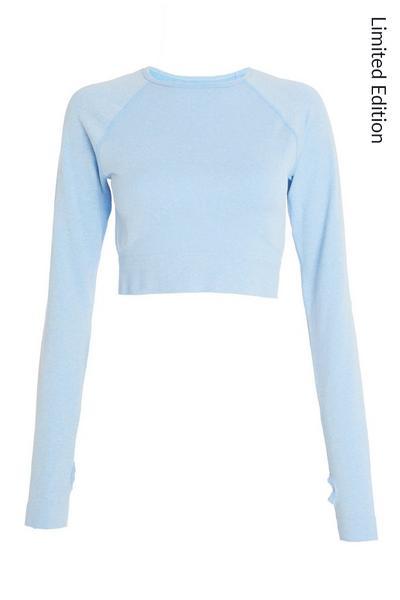 Blue Seamless Long Sleeve Crop Top